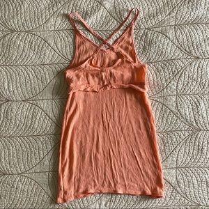 Aritzia Wilfred Orange Crisscross Back Mini Dress